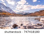 beautiful autumn view with a... | Shutterstock . vector #747418180