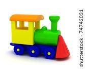 Toy locomotive isolated - stock photo