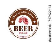 beer hops plant logotype... | Shutterstock .eps vector #747420448