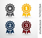 grey gold blue and red award...   Shutterstock .eps vector #747421564