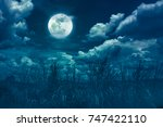 landscape of night sky with... | Shutterstock . vector #747422110