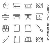 thin line icon set   table lamp ... | Shutterstock .eps vector #747422890