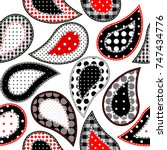 paisley pattern in patchwork... | Shutterstock .eps vector #747434776