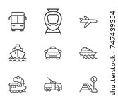 transport line icon set | Shutterstock .eps vector #747439354