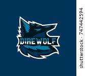 dire wolf sport mascot | Shutterstock .eps vector #747442594