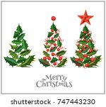 christmas holiday new year... | Shutterstock .eps vector #747443230