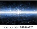 abstract dark blue futuristic... | Shutterstock . vector #747446290