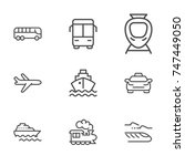 transport line icon set | Shutterstock .eps vector #747449050