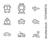 transport line icon set | Shutterstock .eps vector #747449074