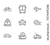 transport line icon set | Shutterstock .eps vector #747449248
