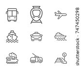 transport line icon set | Shutterstock .eps vector #747450298