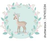 reindeer and sweet floral... | Shutterstock .eps vector #747451534