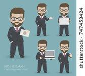 businessman cartoon character...   Shutterstock .eps vector #747453424