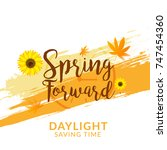 daylight saving time poster or... | Shutterstock .eps vector #747454360