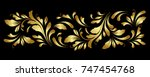 golden border. floral swirls... | Shutterstock .eps vector #747454768