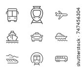 transport line icon set | Shutterstock .eps vector #747456304