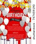 happy birthday vector... | Shutterstock .eps vector #747459190