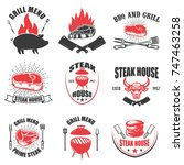 set of steak house emblems. bbq ... | Shutterstock .eps vector #747463258