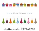 colorful patterned christmas... | Shutterstock .eps vector #747464230