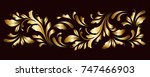 golden border. floral swirls... | Shutterstock .eps vector #747466903