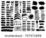 painted grunge stripes set....   Shutterstock .eps vector #747471898