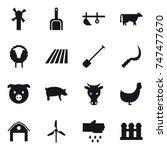 16 vector icon set   windmill ... | Shutterstock .eps vector #747477670