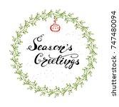 vector christmas greeting card... | Shutterstock .eps vector #747480094