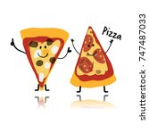 pizza slices character  sketch... | Shutterstock .eps vector #747487033