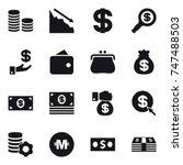 16 vector icon set   coin stack ... | Shutterstock .eps vector #747488503