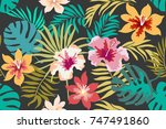 blooming tropical flowers and... | Shutterstock .eps vector #747491860