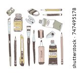 hand drawn art tools and... | Shutterstock .eps vector #747495178