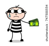 cartoon thief giving bribe for... | Shutterstock .eps vector #747500554