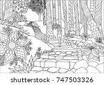 line art design of girl step up ... | Shutterstock .eps vector #747503326