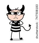 devil cartoon criminal angry...   Shutterstock .eps vector #747508183