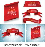 merry christmas red scroll... | Shutterstock .eps vector #747510508