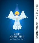 christmas star and little angel ...   Shutterstock .eps vector #747512743