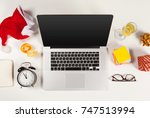 flat lay christmas decoration... | Shutterstock . vector #747513994