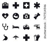 16 vector icon set   gloves | Shutterstock .eps vector #747514546