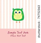 baby owl greeting card | Shutterstock .eps vector #74752363