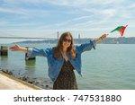handsome girl tourist take... | Shutterstock . vector #747531880