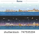 vector skyline of rome at day... | Shutterstock .eps vector #747535204