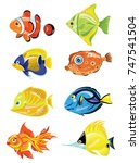 set of cartoon fish. collection ... | Shutterstock .eps vector #747541504