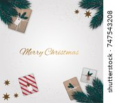 merry christmas background with ... | Shutterstock .eps vector #747543208