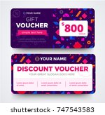 discount voucher template with... | Shutterstock .eps vector #747543583