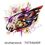 colorful lion head splashes... | Shutterstock .eps vector #747546409