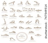 yoga workout  with sun... | Shutterstock .eps vector #747549514