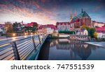 Small photo of Fantastic sunrise view of St Peter and Paula's Church, on the Polish border. Colorful autumn cityscape of Gorlitz, eastern Germany, Europe. Traveling concept background.