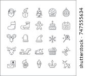 christmas elements icon set.... | Shutterstock .eps vector #747555634