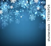 blue winter background with... | Shutterstock .eps vector #747556924