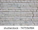 white brick wall with plaster... | Shutterstock . vector #747556984
